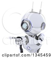 Clipart Of A Cropped View Of A 3d Futuristic Robot Pointing On A Shaded White Background Royalty Free Illustration