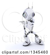 Clipart Of A 3d Futuristic Robot Pointing On A Shaded White Background Royalty Free Illustration