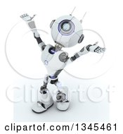 Clipart Of A 3d Futuristic Robot Worshipping On A Shaded White Background Royalty Free Illustration by KJ Pargeter