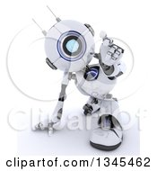 Clipart Of A 3d Futuristic Robot Crouching And Reaching Outwards On A Shaded White Background Royalty Free Illustration