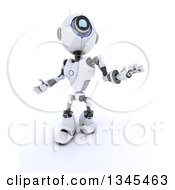 Clipart Of A 3d Futuristic Robot Looking Up And Gesturing On A Shaded White Background Royalty Free Illustration