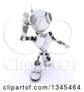Clipart Of A 3d Futuristic Robot Cupping And Listening Or Shouting On A Shaded White Background Royalty Free Illustration