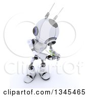 Clipart Of A 3d Futuristic Robot Protecting A Seedling Plant On A Shaded White Background Royalty Free Illustration