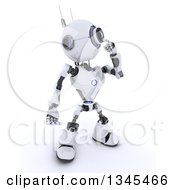 Clipart Of A 3d Futuristic Robot Thinking On A Shaded White Background Royalty Free Illustration