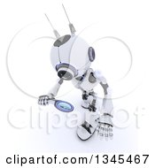 Clipart Of A 3d Futuristic Robot Looking Down And Searching With A Magnifying Glass On A Shaded White Background Royalty Free Illustration
