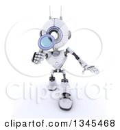 Clipart Of A 3d Futuristic Robot Searching With A Magnifying Glass On A Shaded White Background Royalty Free Illustration