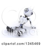 Clipart Of A 3d Futuristic Robot Sitting On The Ground Leaning Back And Looking Upwards On A Shaded White Background Royalty Free Illustration