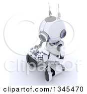 Clipart Of A 3d Futuristic Robot Playing A Video Game On A Shaded White Background Royalty Free Illustration