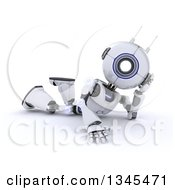 Clipart Of A 3d Futuristic Robot Resting On The Floor On A Shaded White Background Royalty Free Illustration