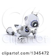 Clipart Of A 3d Futuristic Robot Thinking And Resting On The Floor On A Shaded White Background Royalty Free Illustration