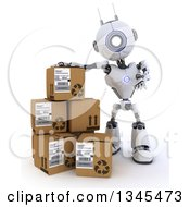 Clipart Of A 3d Futuristic Robot Presenting By Boxes On A Shaded White Background Royalty Free Illustration