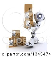 Clipart Of A 3d Futuristic Robot Carrying Boxes On A Shaded White Background Royalty Free Illustration by KJ Pargeter