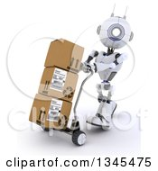 Clipart Of A 3d Futuristic Robot Moving Boxes On A Dolly On A Shaded White Background Royalty Free Illustration by KJ Pargeter