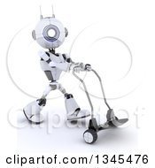Clipart Of A 3d Futuristic Robot Walking With A Dolly On A Shaded White Background Royalty Free Illustration by KJ Pargeter