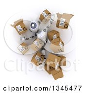Clipart Of A 3d Futuristic Robot Falling And Surrounded By Boxes On A Shaded White Background Royalty Free Illustration by KJ Pargeter