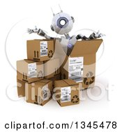 Clipart Of A 3d Futuristic Robot Popping Out Of A Box On A Shaded White Background Royalty Free Illustration by KJ Pargeter