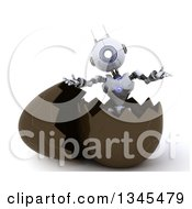 Clipart Of A 3d Futuristic Robot Popping Out Of A Chocolate Easter Egg On A Shaded White Background Royalty Free Illustration