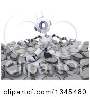 Clipart Of A 3d Futuristic Robot Surrounded By Metallic Eggs On A Shaded White Background Royalty Free Illustration