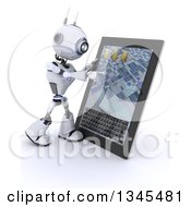 Clipart Of A 3d Futuristic Robot Using A Tablet Computer On A Shaded White Background Royalty Free Illustration