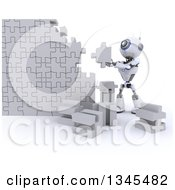 Clipart Of A 3d Futuristic Robot Building A Jigsaw Puzzle Piece Wall On A Shaded White Background Royalty Free Illustration