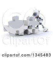 Clipart Of A 3d Futuristic Robot Pushing Two Giant Puzzle Pieces Together On A Shaded White Background Royalty Free Illustration