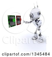 Clipart Of A 3d Futuristic Robot Thinking Of White Button To Push On A Shaded White Background Royalty Free Illustration