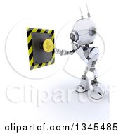 Clipart Of A 3d Futuristic Robot Thinking About Pushing A Yellow Button On A Shaded White Background Royalty Free Illustration