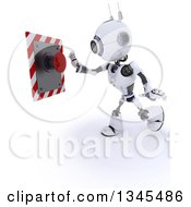 Clipart Of A 3d Futuristic Robot Pushing A Red Button On A Shaded White Background Royalty Free Illustration
