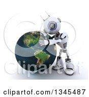 Clipart Of A 3d Futuristic Robot Hugging Planet Earth On A Shaded White Background Royalty Free Illustration