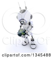 Clipart Of A 3d Futuristic Robot Holding And Looking Down At Planet Earth On A Shaded White Background Royalty Free Illustration