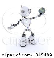 Clipart Of A 3d Futuristic Robot Holding And Presenting Planet Earth On A Shaded White Background Royalty Free Illustration