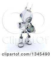 Clipart Of A 3d Futuristic Robot Holding And Touching Planet Earth On A Shaded White Background Royalty Free Illustration