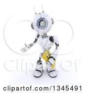 Clipart Of A 3d Futuristic Robot Presenting And Holding A File Folder On A Shaded White Background Royalty Free Illustration