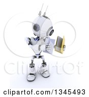 Clipart Of A 3d Futuristic Robot Putting A Document In A File Folder On A Shaded White Background Royalty Free Illustration