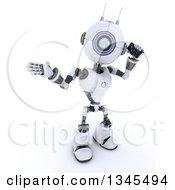 Clipart Of A 3d Futuristic Robot Talking On A Cell Phone On A Shaded White Background Royalty Free Illustration