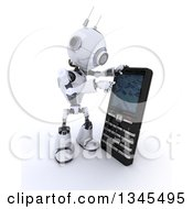 Clipart Of A 3d Futuristic Robot Using A Giant Cell Phone On A Shaded White Background Royalty Free Illustration