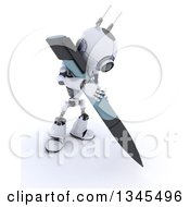 Clipart Of A 3d Futuristic Robot Writing With A Giant Pen On A Shaded White Background Royalty Free Illustration by KJ Pargeter