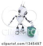 Clipart Of A 3d Futuristic Robot Tossing A Can In A Transparent Recycle Bin On A Shaded White Background Royalty Free Illustration