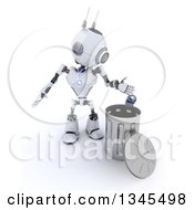 Clipart Of A 3d Futuristic Robot Tossing A Can In A Metal Recycle Bin On A Shaded White Background Royalty Free Illustration