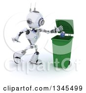 Clipart Of A 3d Futuristic Robot Tossing A Can In A Green Recycle Bin On A Shaded White Background Royalty Free Illustration