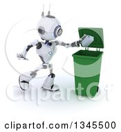 Clipart Of A 3d Futuristic Robot Tossing A Carton In A Green Recycle Bin On A Shaded White Background Royalty Free Illustration