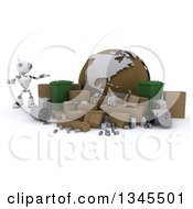 3d Futuristic Robot Presenting Recycle Bins Items And A Globe On A Shaded White Background