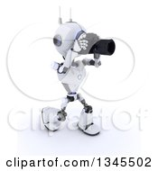 Clipart Of A 3d Futuristic Robot Photographer Walking And Taking Pictures On A Shaded White Background Royalty Free Illustration