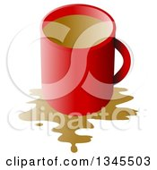 Clipart Of A Red Coffee Cup With A Spill Over White Royalty Free Illustration