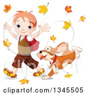 Cartoon Puppy Dog Following A And Caucasian School Boy As He Walks Through Autumn Leaves