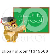 Clipart Of A Cartoon Professor Owl Pointing To A Back To School Chalkboard Royalty Free Vector Illustration by Pushkin
