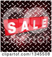 Clipart Of Shiny Red Sale Tiles Over Diamond Plate Metal With Flares Royalty Free Vector Illustration