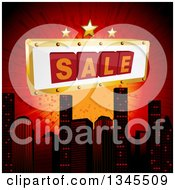 Clipart Of A 3d Sale Sign With Stars Over A City Skyline And Red Burst Royalty Free Vector Illustration