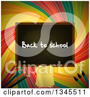 Clipart Of A Back To School Black Board Over A Colorful Retro Swirl With Pencils Paper And Markers Royalty Free Vector Illustration by elaineitalia