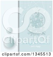 Christmas Invitation With A Tree Shiny Baubles Text And Copy Space In Blue Tones